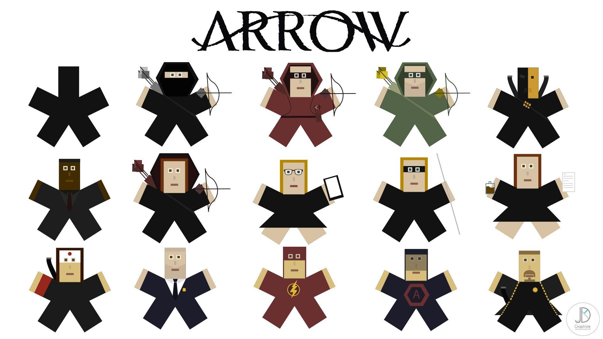 Caricature En Astrisque De Personnages Serie Arrow -1510
