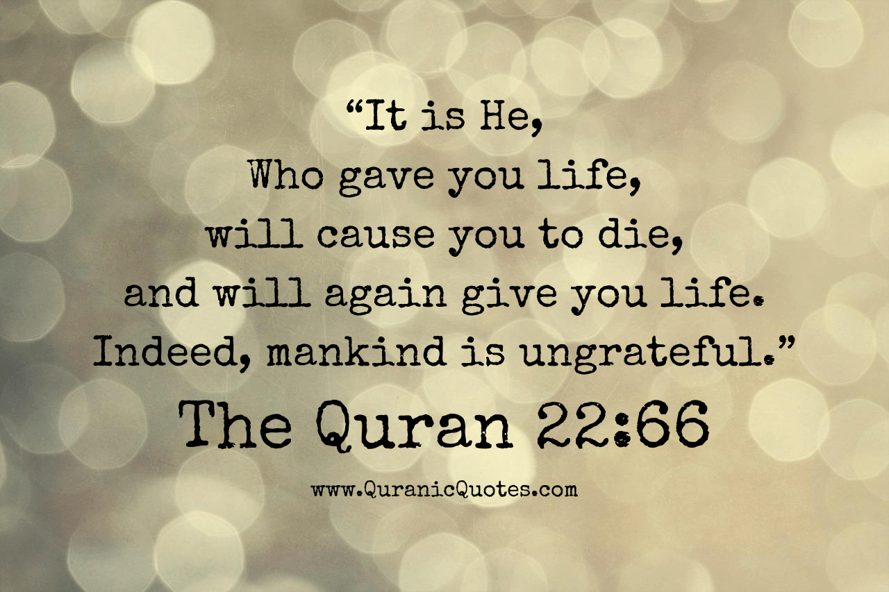 Quotes Quran The Qur'an 2266 Surah Alhaj It Is He Who Gave You Life Will