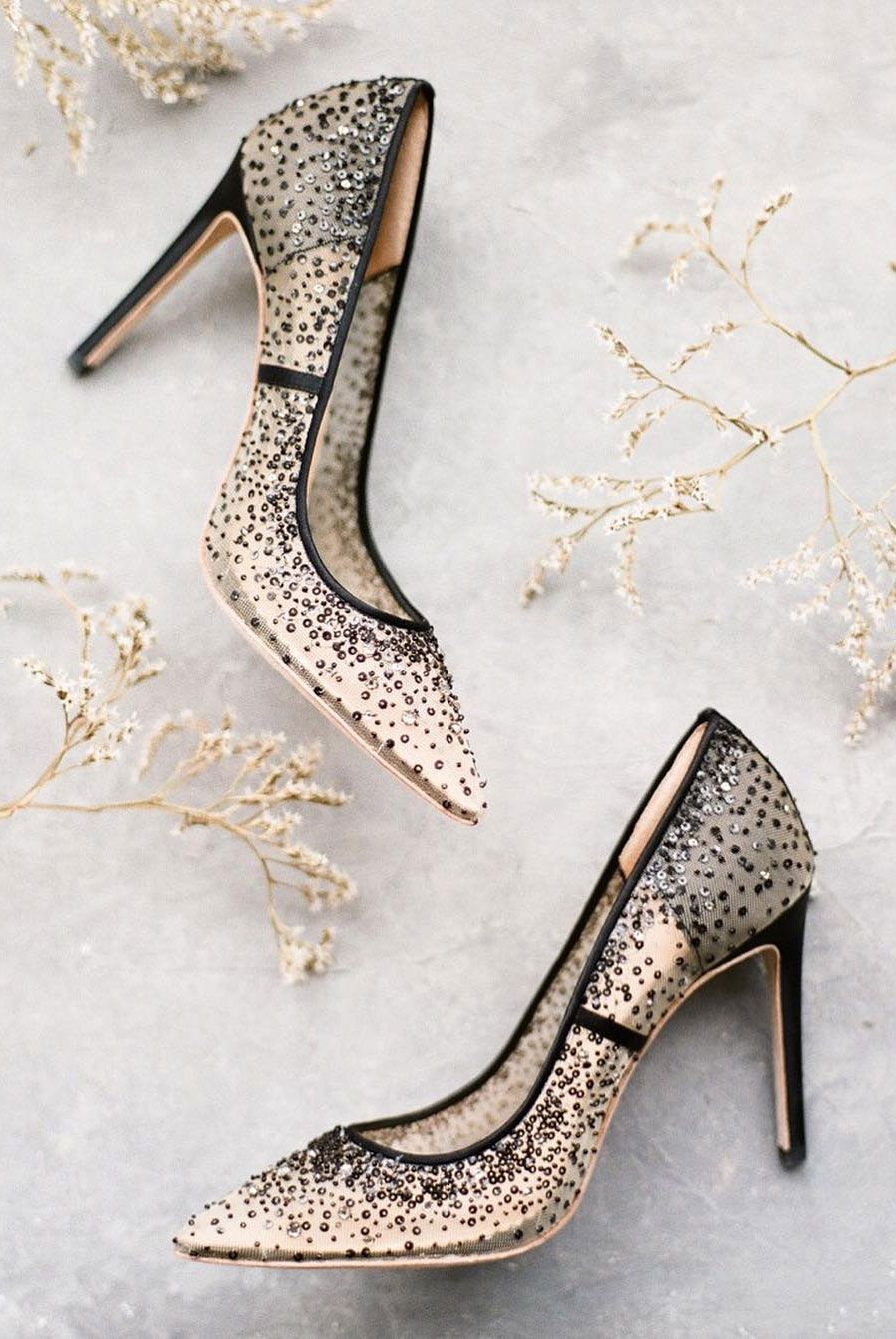 Sheer black bridal heels with crystal embellishment
