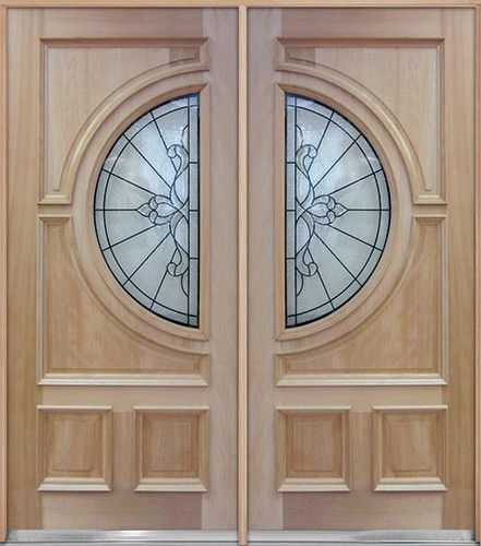 Half circle mahogany wood double doors a650 double door for Double wood doors with glass