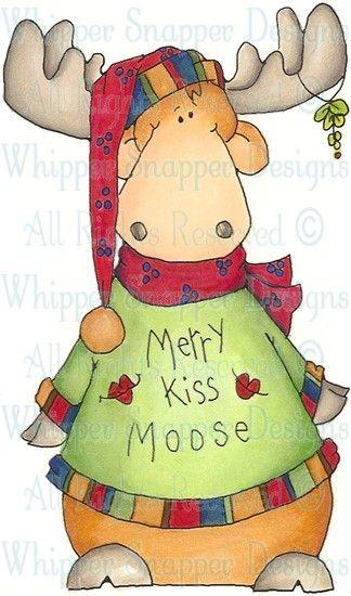 Merrry Kiss Moose - Christmas Images - Christmas - Rubber ...