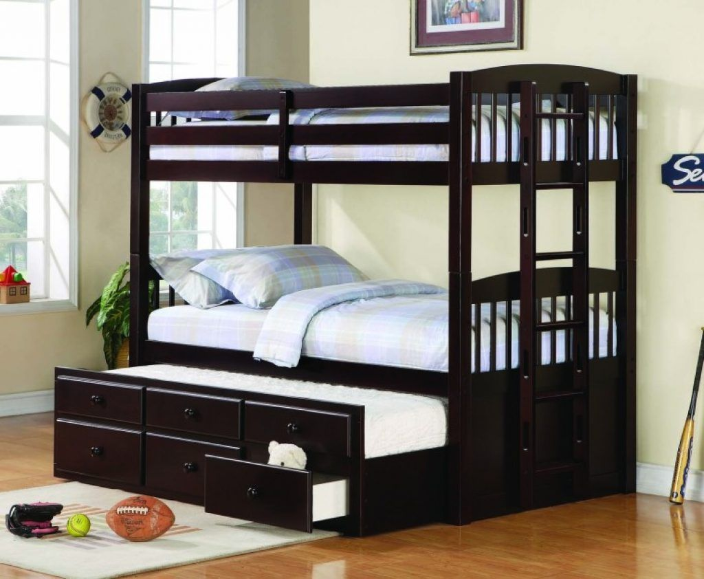 Awesome Black Painted Hardwood Bunk Bed With Trundle And Bottom