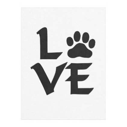 Love Dog Paw Fleece Blanket - home gifts ideas decor special unique custom individual customized individualized