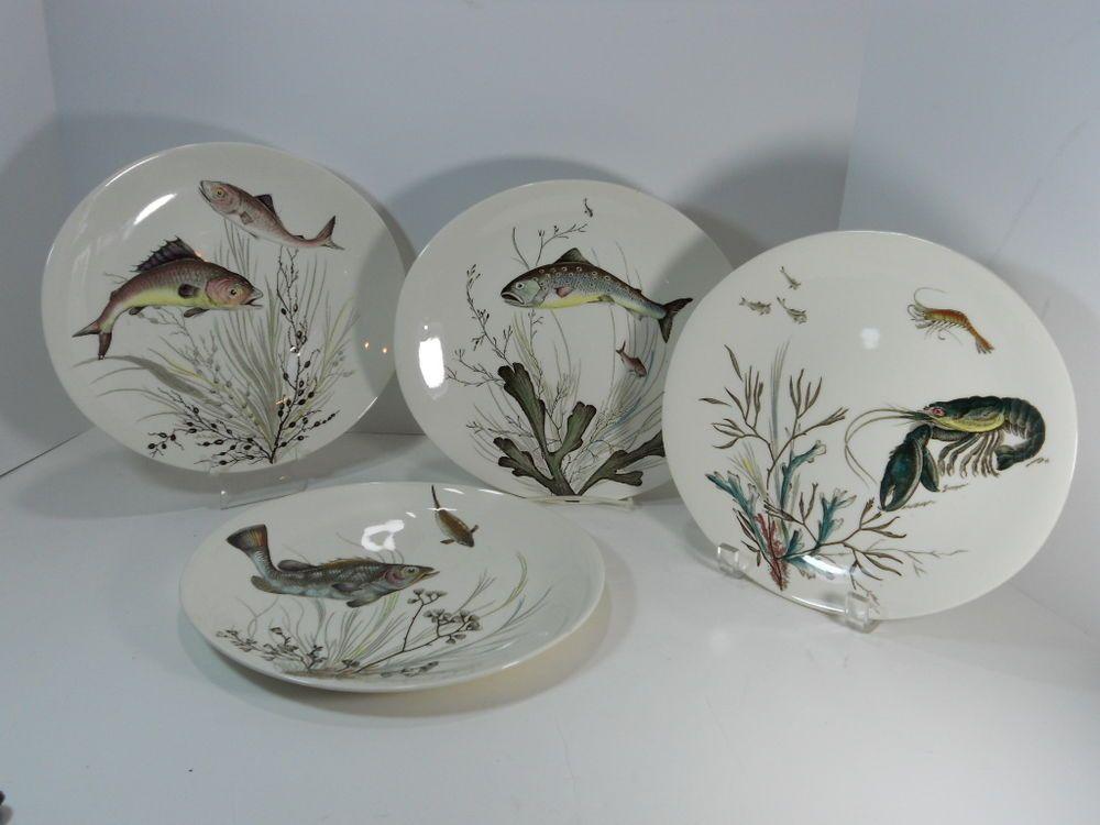 c1960 Set 4 Johnson Bros England FISH Series Plates 10 1/4\  Design # & c1960 Set 4 Johnson Bros England FISH Series Plates 10 1/4\