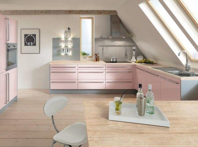 Une Cuisine Rose Pastel Et Gris Déco Décoration Comble - Meuble cuisine haut pour idees de deco de cuisine