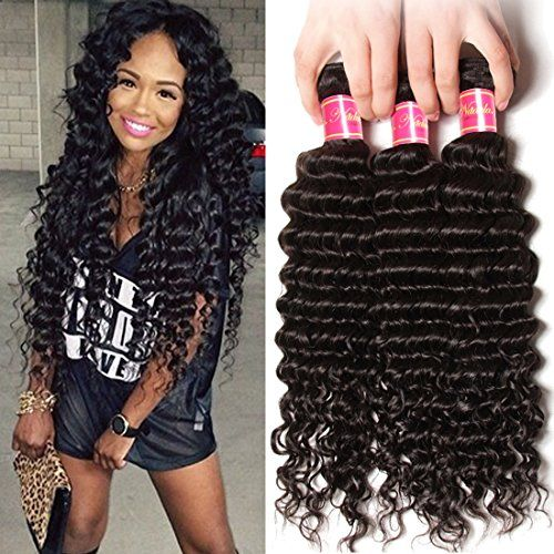 Nadula 6a Remy Virgin Brazilian Deep Wave Human Hair Extensions Pack of 3 Unprocessed Deep Wave Weave Natural Color Mixed Length 22inch 24inch 26inch >>> Click image for more details.