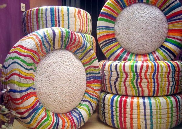 diy projekte basteln sie interessante m bel aus autoreifen mit reifen sitzkissen reifen. Black Bedroom Furniture Sets. Home Design Ideas