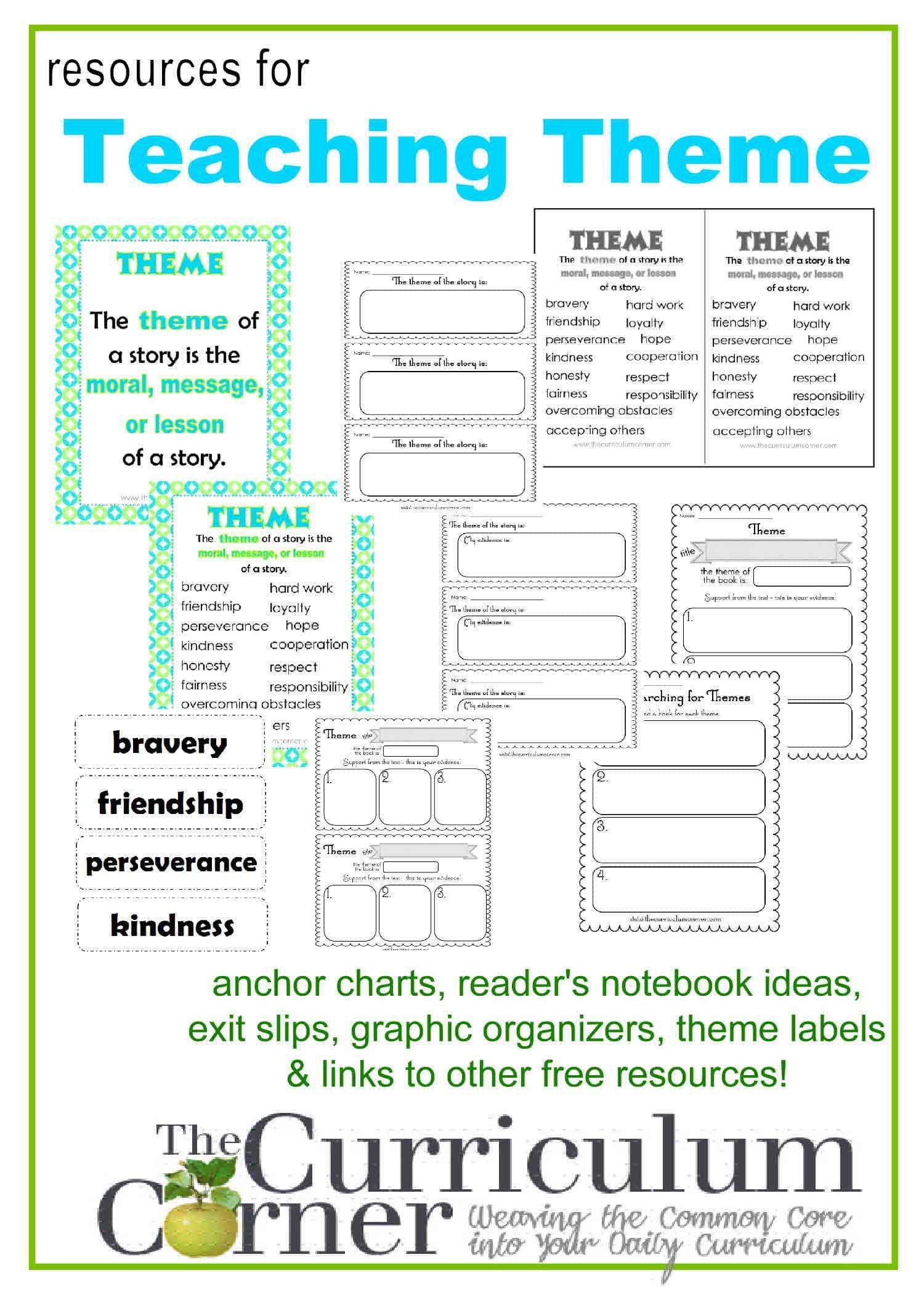 Theme Worksheet 4th Grade Teaching Theme In Reading The Curriculum Corner 123 In 2020 Teaching Themes Reading Themes Teaching
