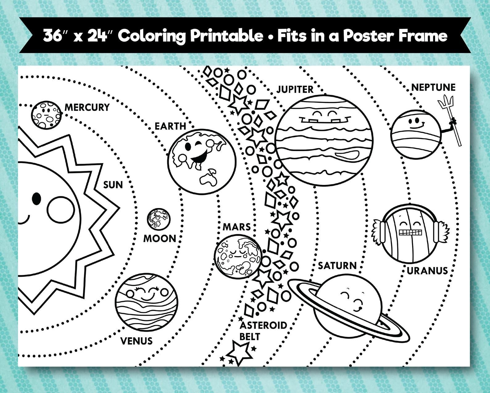 Solar System Printable 36 X24 Horizontal Layout In