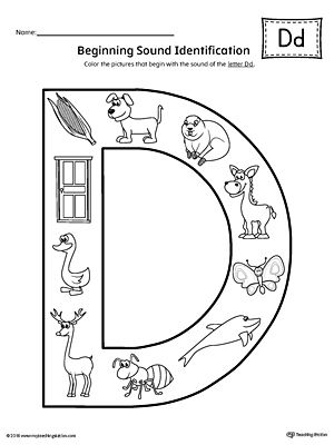 letter d beginning sound color pictures worksheet cll letter d preschool letters letter d. Black Bedroom Furniture Sets. Home Design Ideas