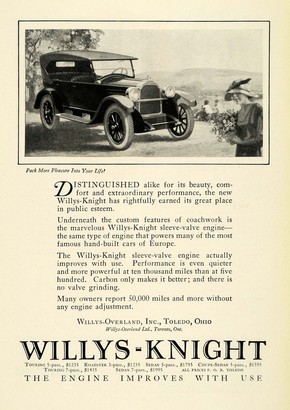 1923 Ad Antique Willys Knight Engines Convertible Automobile Car