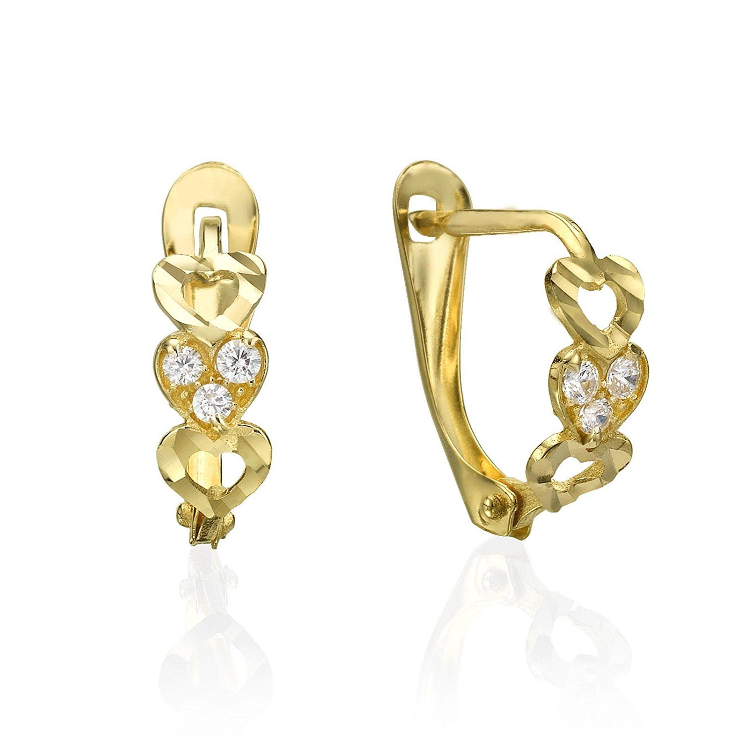14K Solid Yellow Gold Earrings Drop Dangle Cubic Zirconia Leverback Hoop Teen Woman Jewelry Gift >>> See this great product. (This is an affiliate link and I receive a commission for the sales)