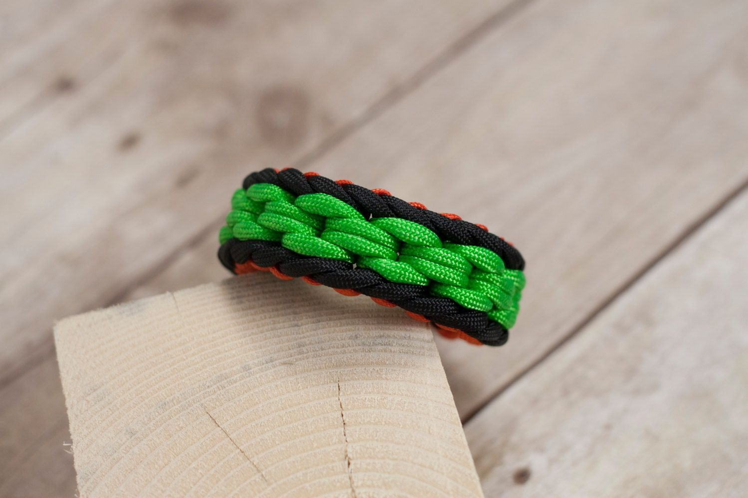 Chainlink Paracord Bracelet With Green Black And Orange Paracord