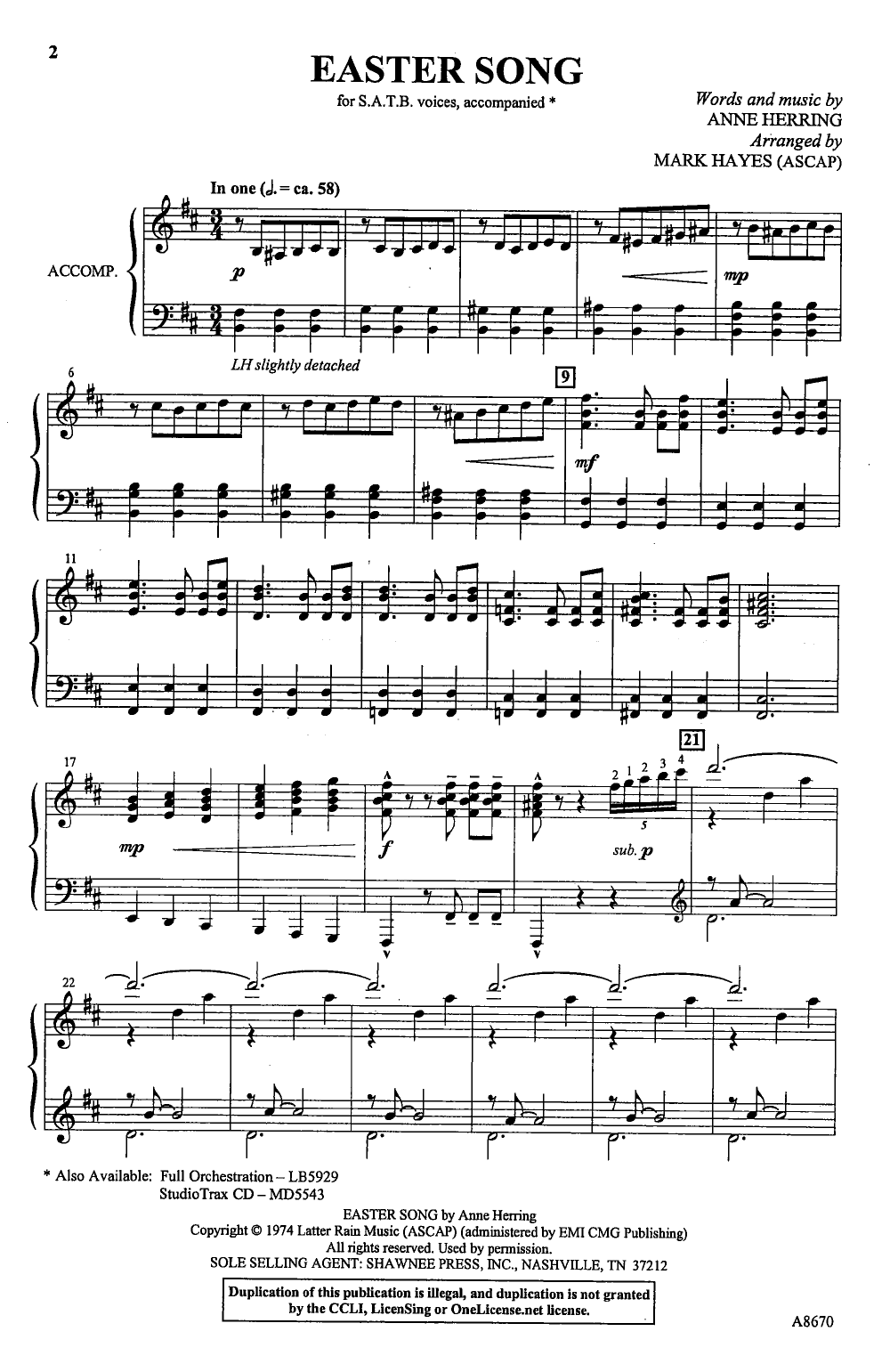 Easter Song (SATB ) by Anne Herring/arr  Hay | J W  Pepper Sheet