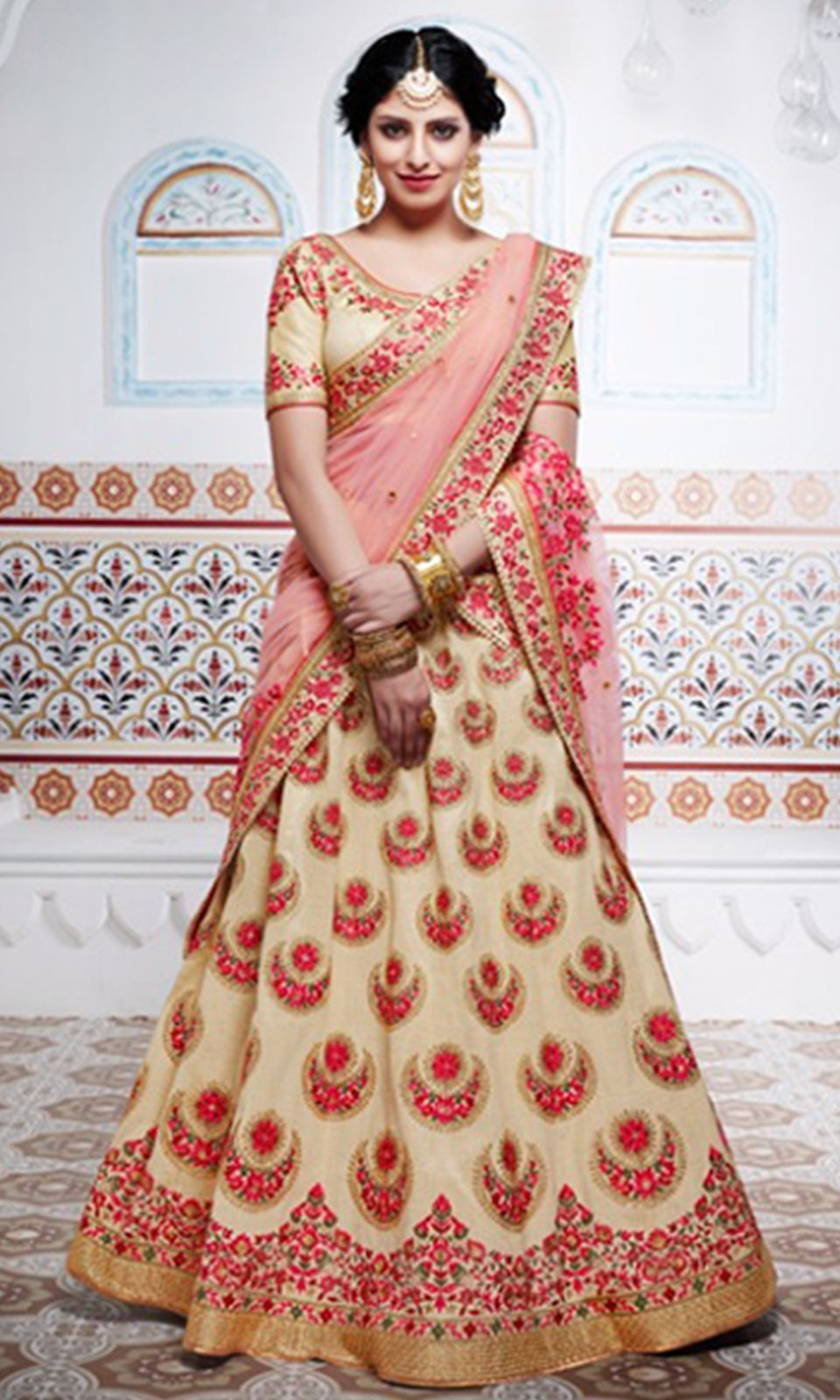 6abc2c1ed7 Shop this stunning #Beige and #Peach #Party Wear #Lehenga #Saree (SKU Code  : LEHNK5100) Online at IshiMaya Fashion.