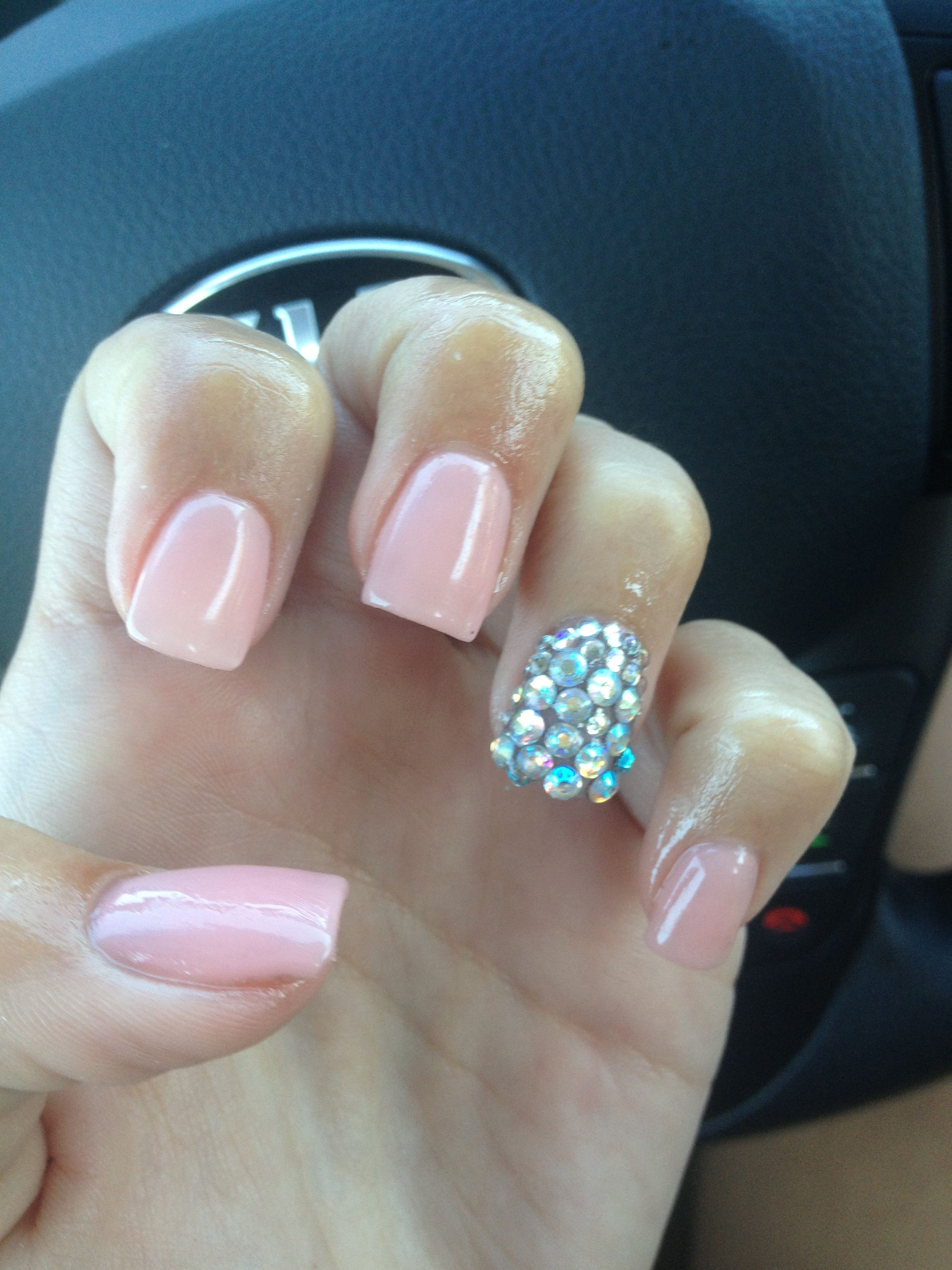 Nude nails with rhinestones on ring fingers http://www.pinterest.com ...