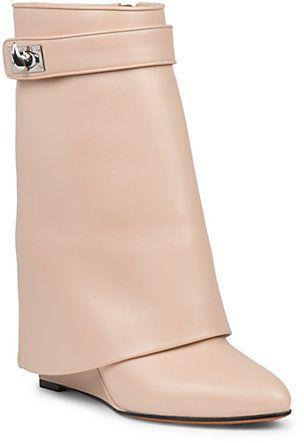 03a27a1cb56a Givenchy Shark Lock Leather Pants Mid-Calf Wedge Boots, A signature  avant-garde