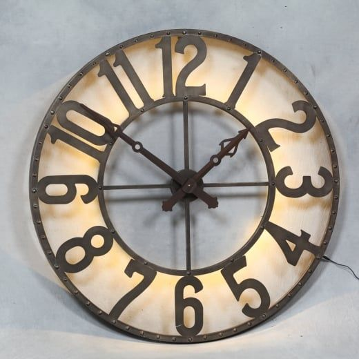 Industrial Back Lit Wall Clock - Large