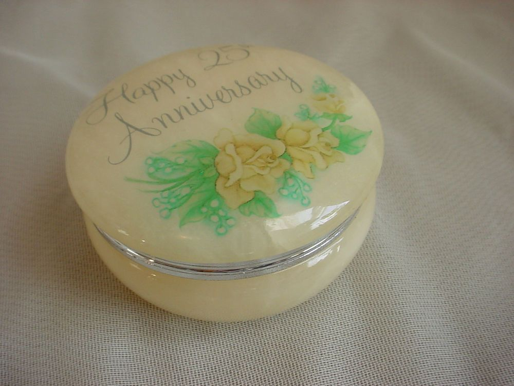 Vintage 25th wedding anniversary trinket box alabaster stone