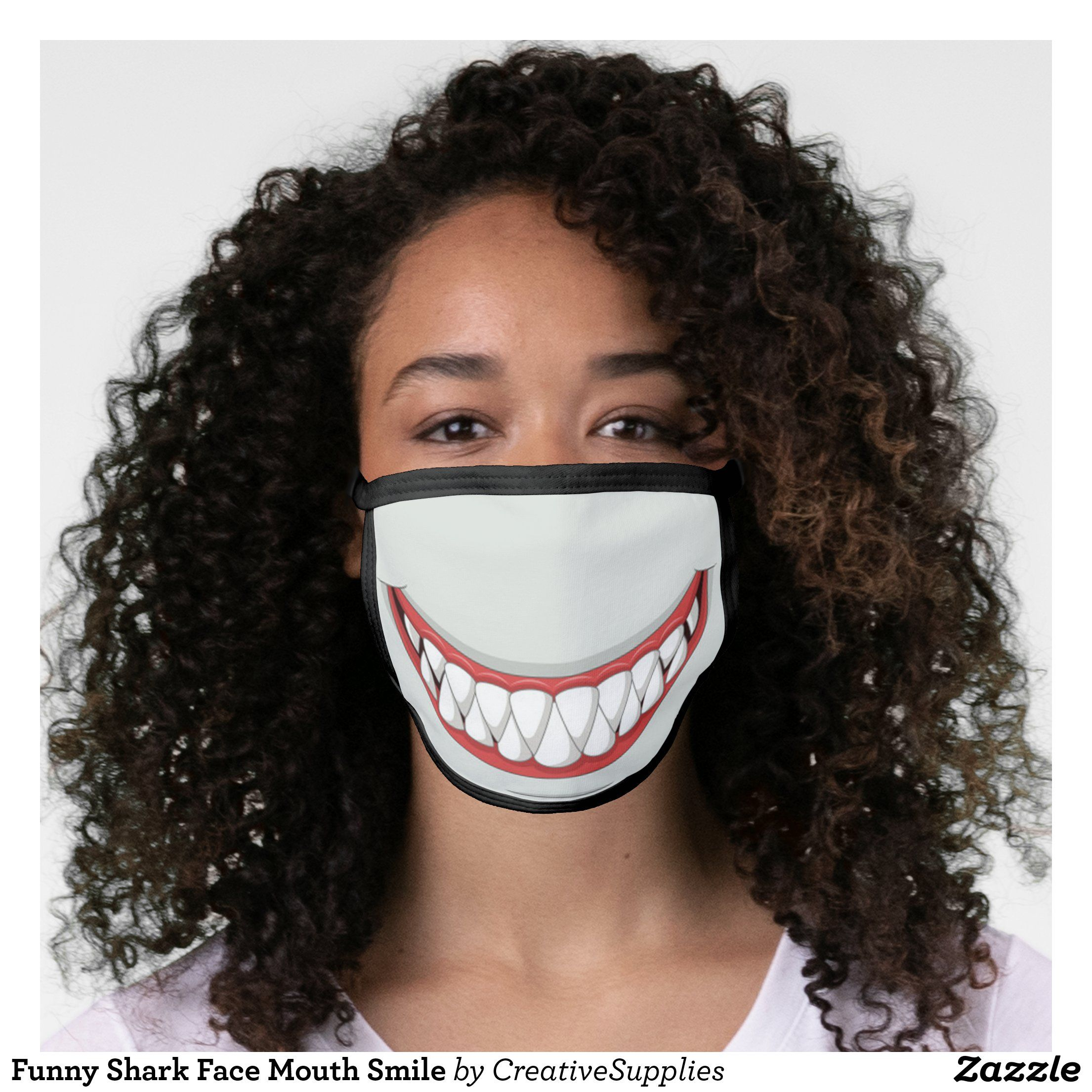 Funny Shark Face Mouth Smile Face Mask in