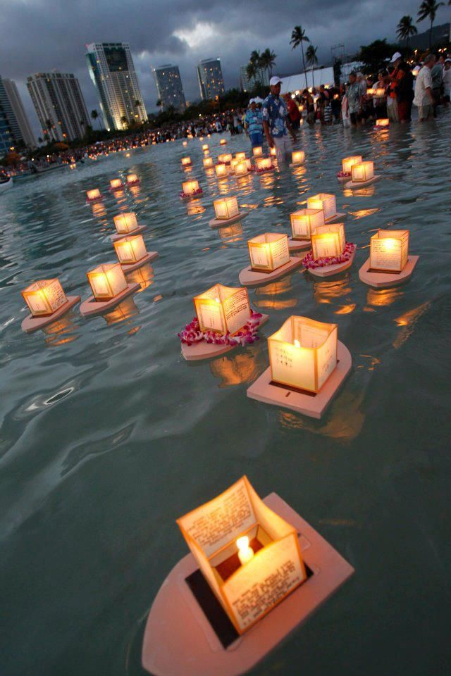 Lanterns float in the water during the annual Shinnyo-En Memorial Day Lantern Floating ceremony on Monday, May 28, at Ala Moana Beach Park in Honolulu Hawaii. 40,000 people showed up for it.
