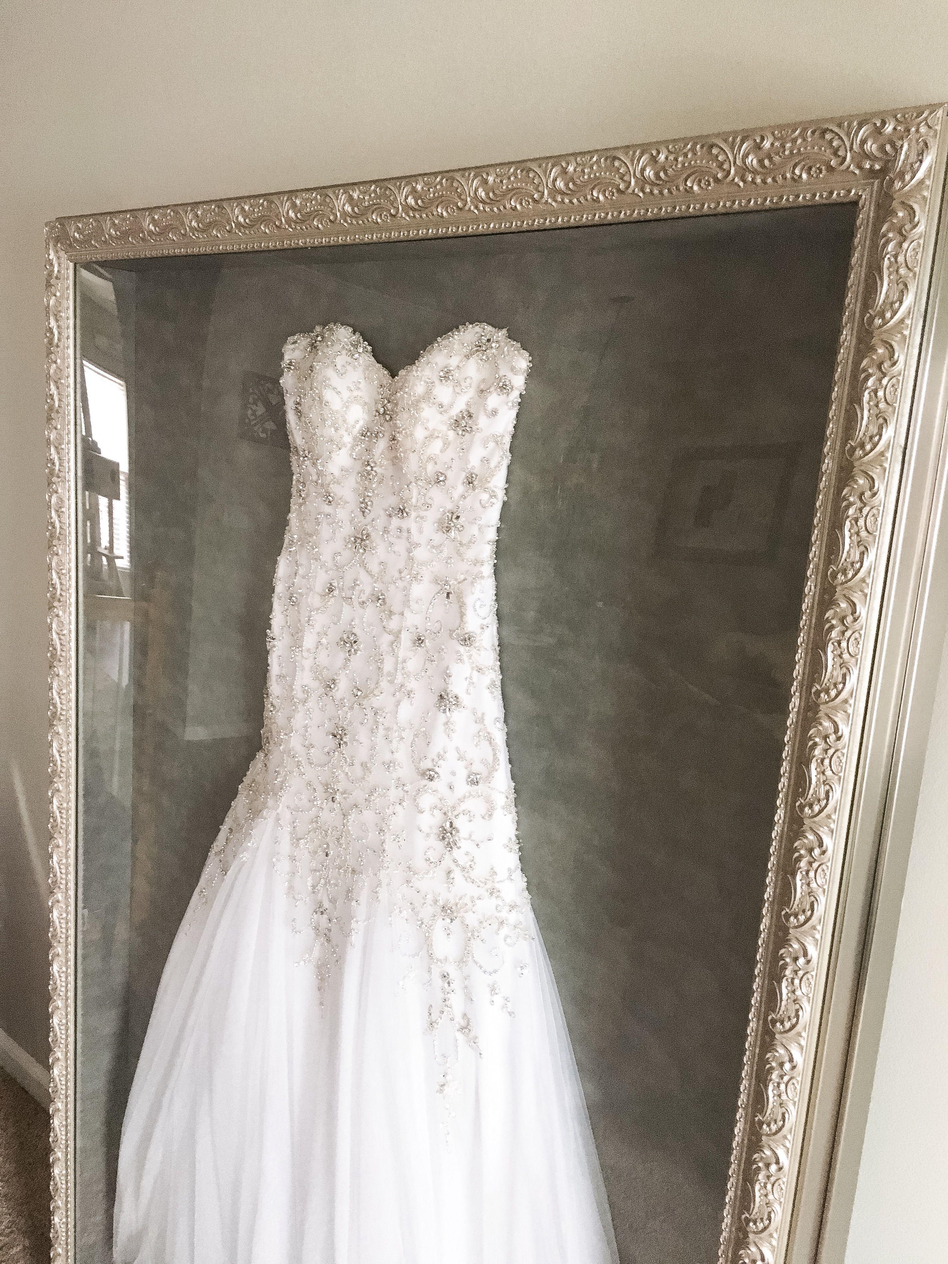 My Wedding Dress In A Shadow Box Done By Hobby Lobby 700 40x60 Wedding Dress Shadow Box Wedding Dress Display Wedding