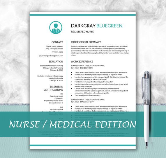 Nurse Resume Template for Word + Resume Writing Tips Medical
