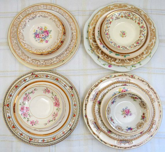 28 Pc Mismatched Dinnerware Set Service for 4 by GoldenVineDesigns  sc 1 st  Pinterest & 28 Pc Mismatched Dinnerware Set Service for 4 by GoldenVineDesigns ...