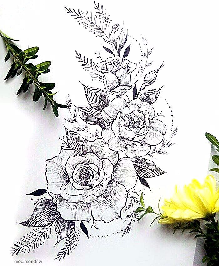 Roses En Branche Tatouage Idee Coloriage Fleur Bouquet De Fleurs Dessin Tatouage Idee Flower Drawing Rose Tattoo Design Flower Thigh Tattoos