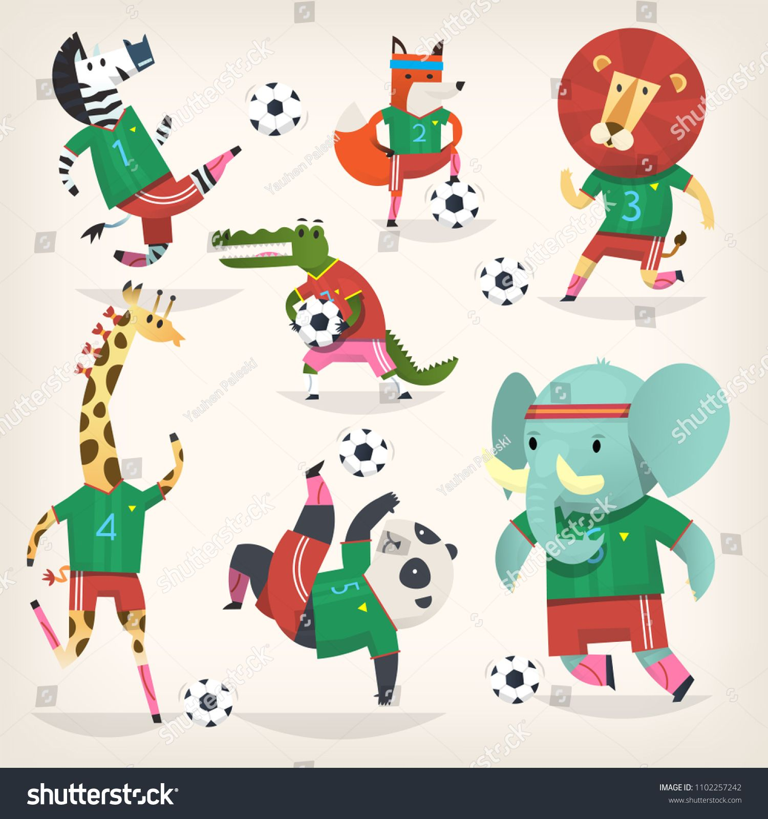Team Of Wild Animals Playing Football Second Team Cute Animal Characters In Different Positions Cute Animal Illustration Football Illustration Animals Wild