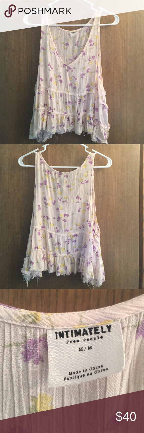 Intimately Free People muscle tank Size M! only worn a handful of times, Free People Intimately tank. size M and in great condition. The edges are supposed to be frayed the way that they are Free People Tops Tank Tops
