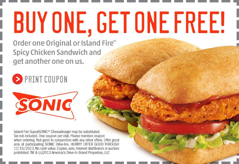 image regarding Sonic Printable Coupon referred to as Sonic: BOGO Cost-free Hen Sandwich Printable Coupon Coupon codes