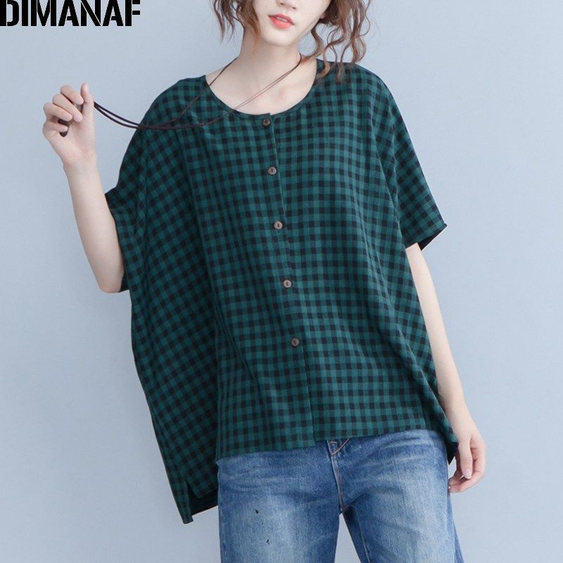 dfcb6f0fe3519d DIMANAF Plus Size Women Blouse Shirts Summer Lady Tops Tunic Linen Big Size  Loose Casual Female