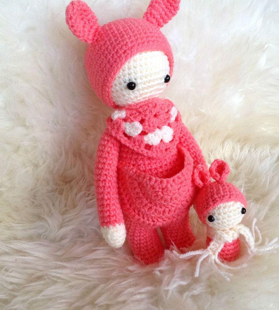 Spielzeug Häkelpuppe Häkeltier Kuscheltier Lalylala Bär mit Baby ...
