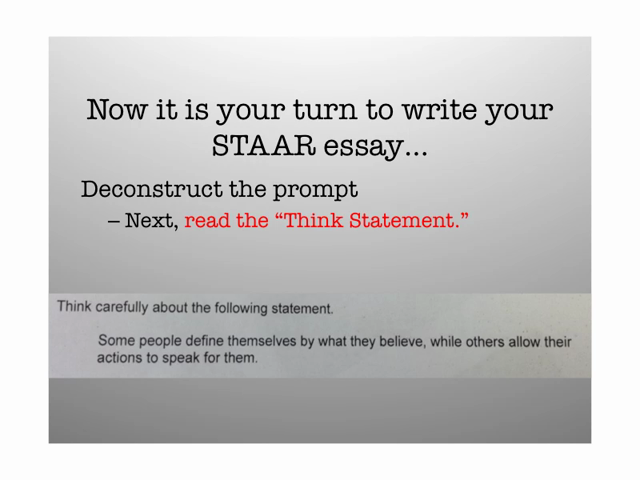 English Sample Essay Persuasive Essay Thesis Examples Staar Deconstructing The Promptwriting A Thesis  Statement Cause And Effect Essay Topics For High School also Example Of An English Essay Staar Deconstructing The Promptwriting A Thesis Statement  Step  University English Essay