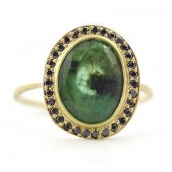 Emerald And Black Diamond Halo Ring
