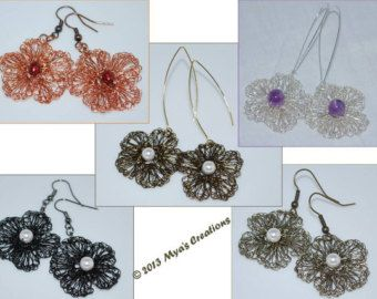 PDF Crocheted Wire Flower Earrings Tutorial How por MyasCreations