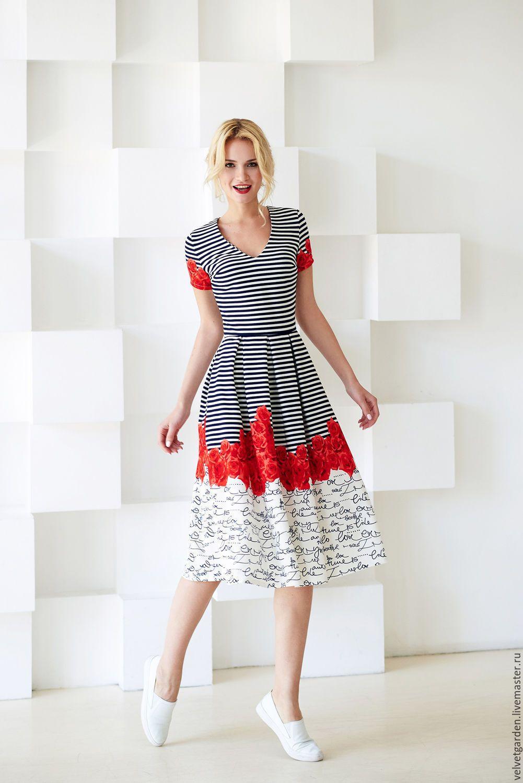 купить летнее платье в полоску