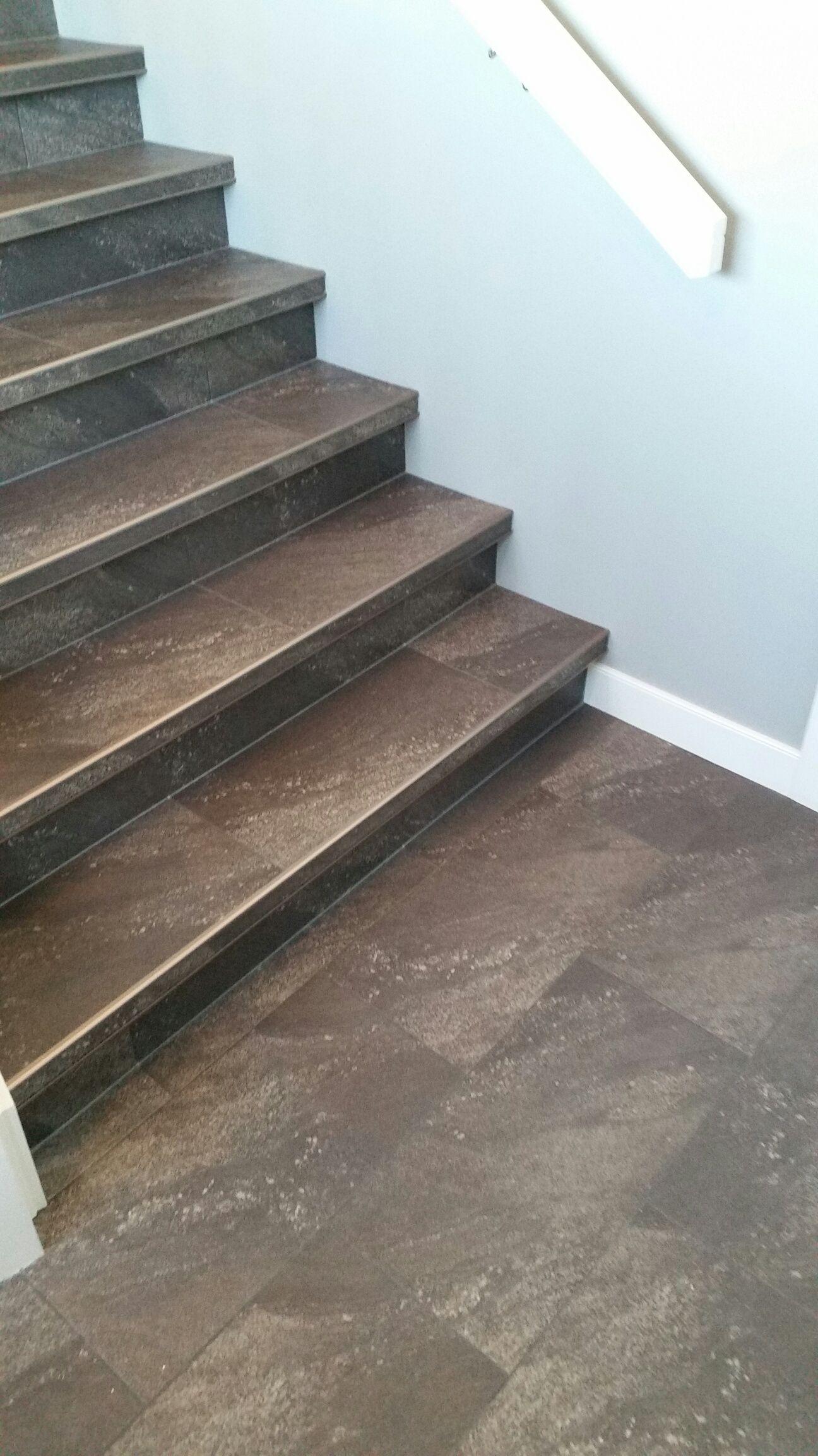 Luxury Vinyl Tile Installed With Custom Insert Stair Nosings Tile Stairs Stair Nosing Stairs Design