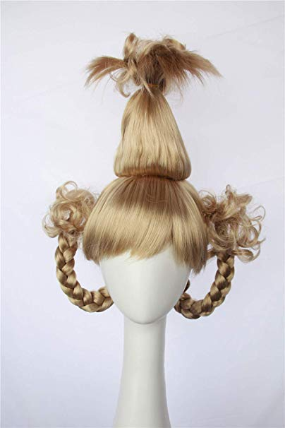 Amazon.com: HangCosplay: Cindy Lou Who Wig Inspired of How the Grinch Stole Christmas! Braided Pigtails Prestyled Spiky Wig for Girls and Teens (Plantinum Blonde): Beauty