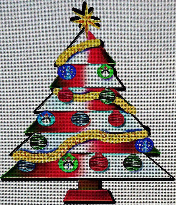 Needlepoint Canvas - Merry christmas tree decorations Christmas - christmas decors