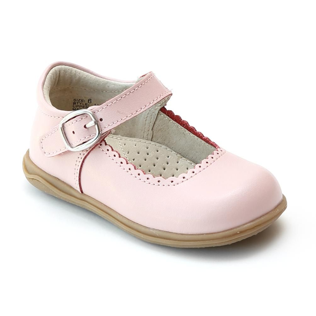 Angel Girls Pink Scalloped Trim Leather Mary Jane Shoes 11-12 Kids