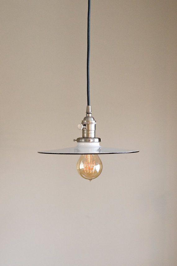 Pendant Light Fixture 10 Flat Metal Porcelain By Oldebricklighting