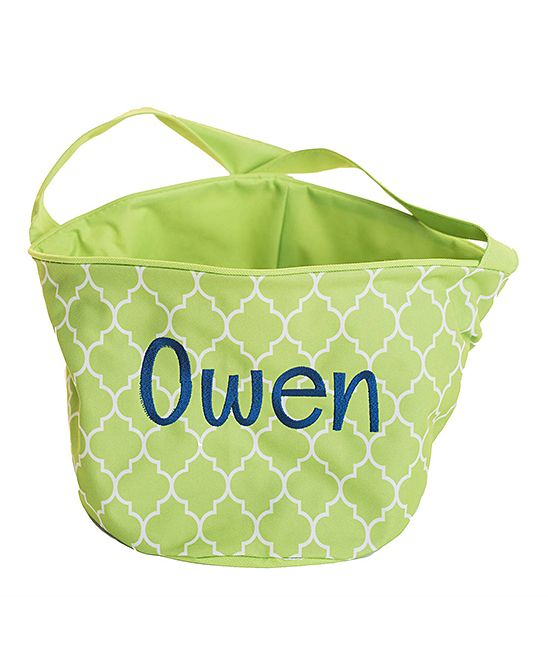 Green & Navy Personalized Easter Bucket