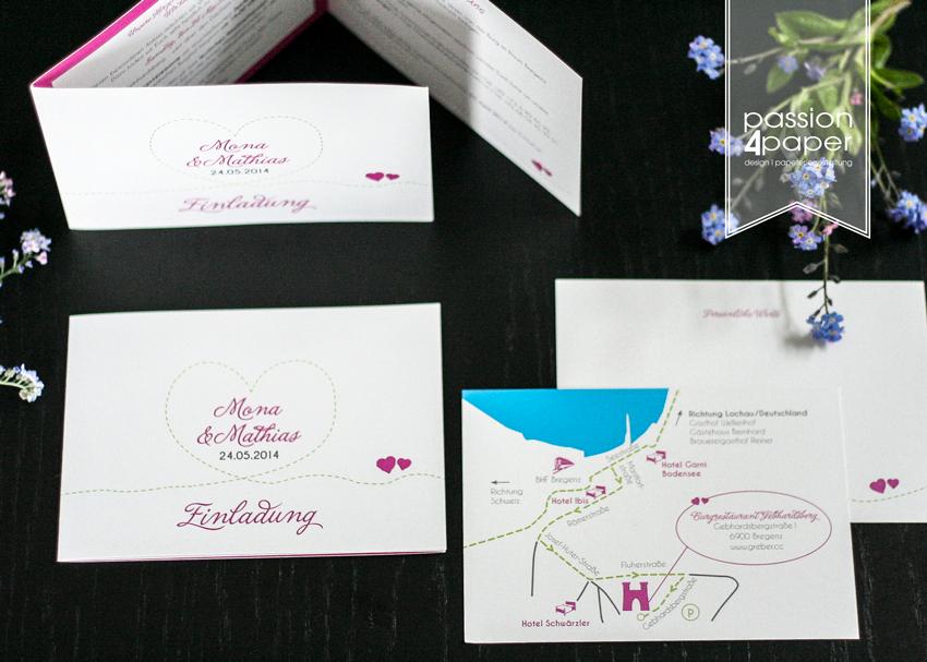 einladung zur hochzeit dreiteilige faltkarte in pink gr n und wei mit einlegern f r anfahrt. Black Bedroom Furniture Sets. Home Design Ideas