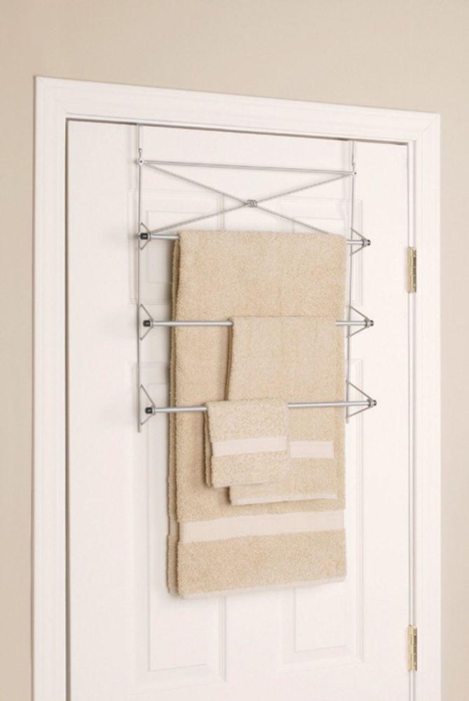 New Satin Nickel Bathroom Over The Door Towel Rack With 3 Bars #Zenna