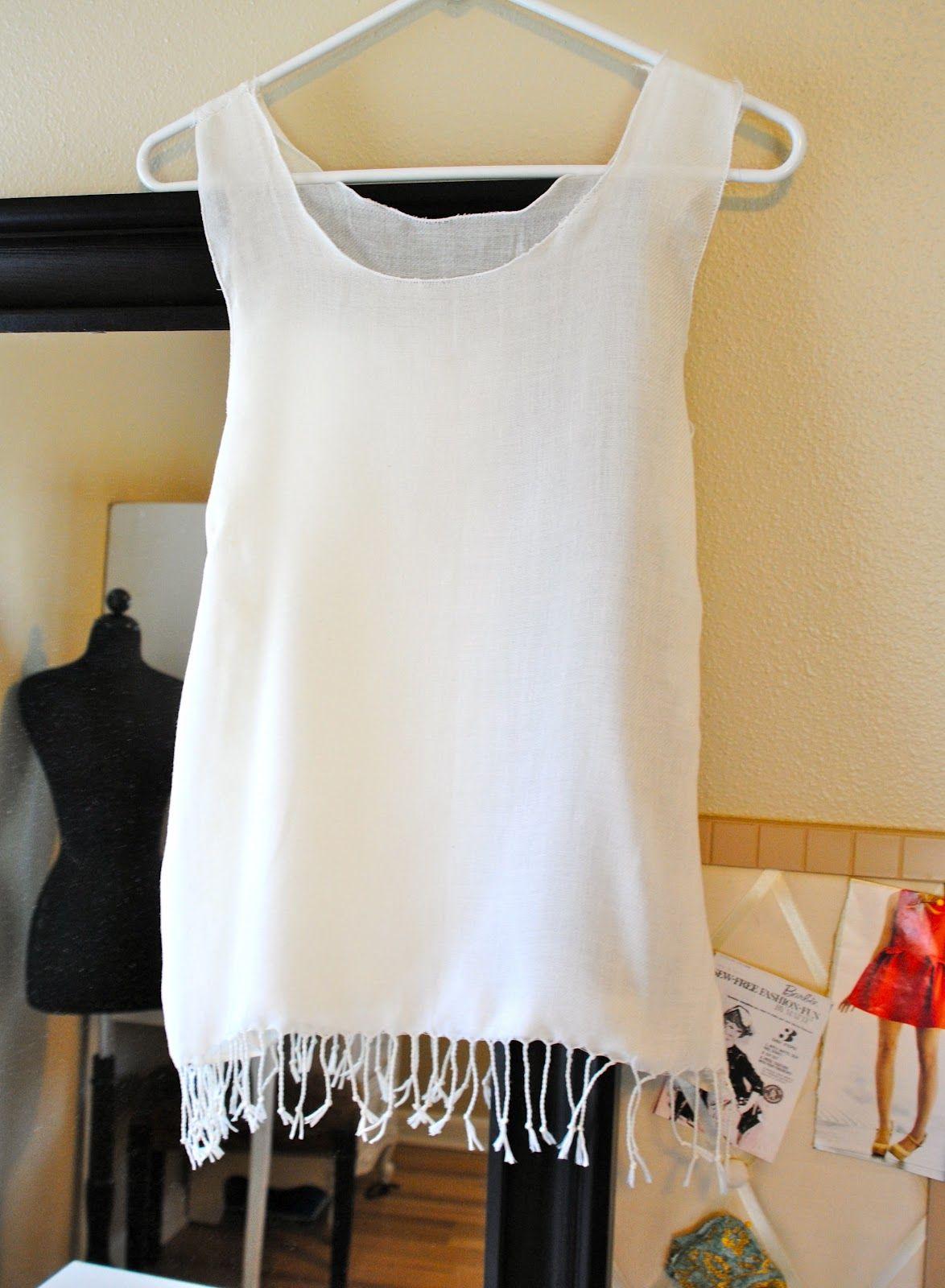 DIY. Fringe Scarf Sewn Loose Top | Trash To Couture. tutorial, diy.