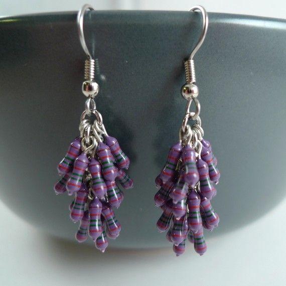 Earrings Copper Sterling Silver Purple Yellow Resistor