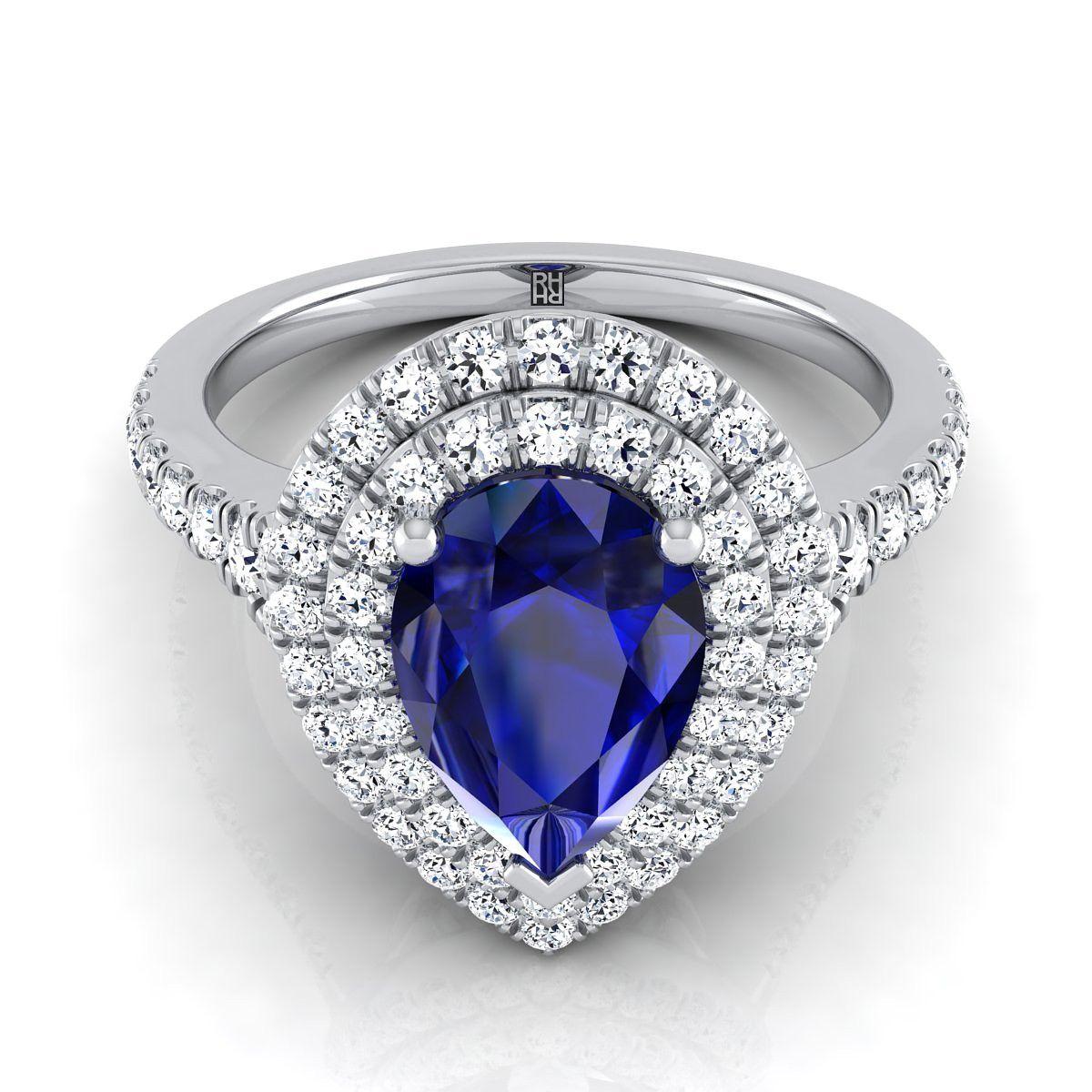 Sapphire Pear Shape Center With Diamond Double Halo