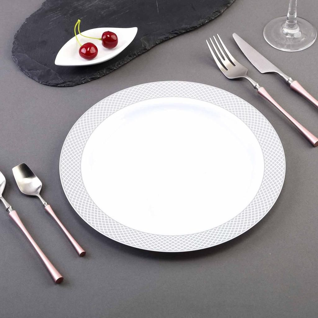 10 Pack 10 White Round Disposable Plastic Dinner Plates With Silver Diamond Rim Classic Plates Plates Dinner Plates